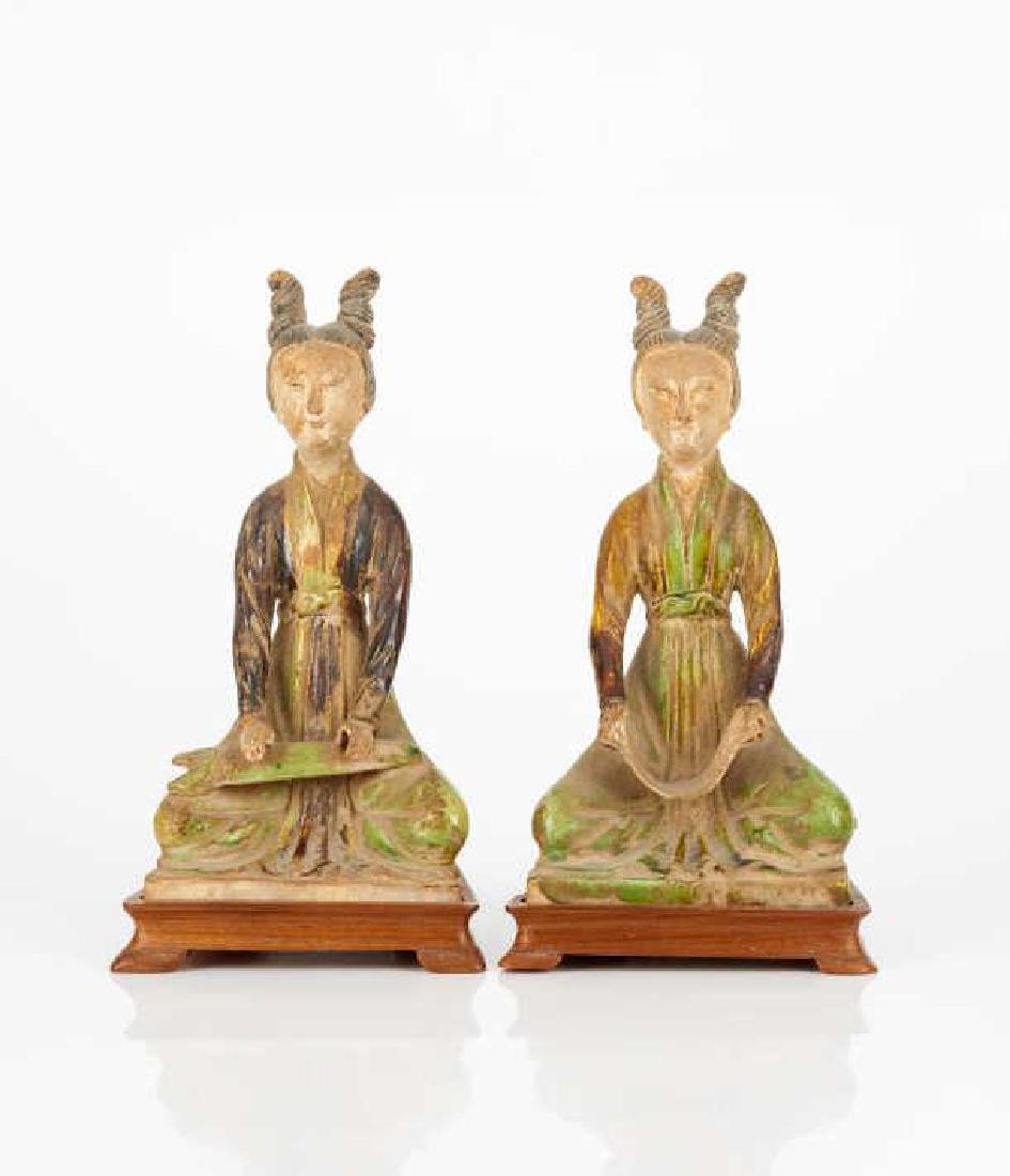 PAIR OF TANG DYNASTY STYLE SANCAI MUSICIAN FIGURES