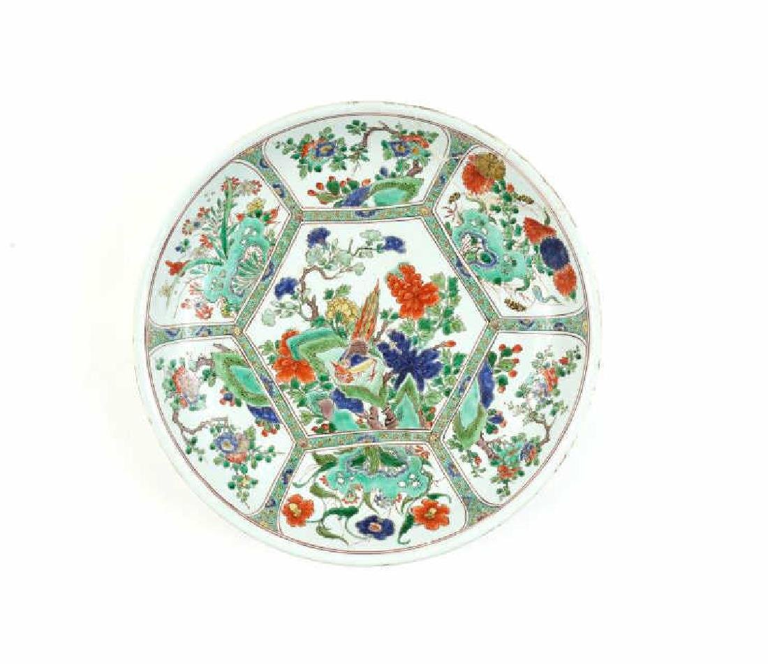 CHINESE FAMILLE VERTE PORCELAIN CHARGER