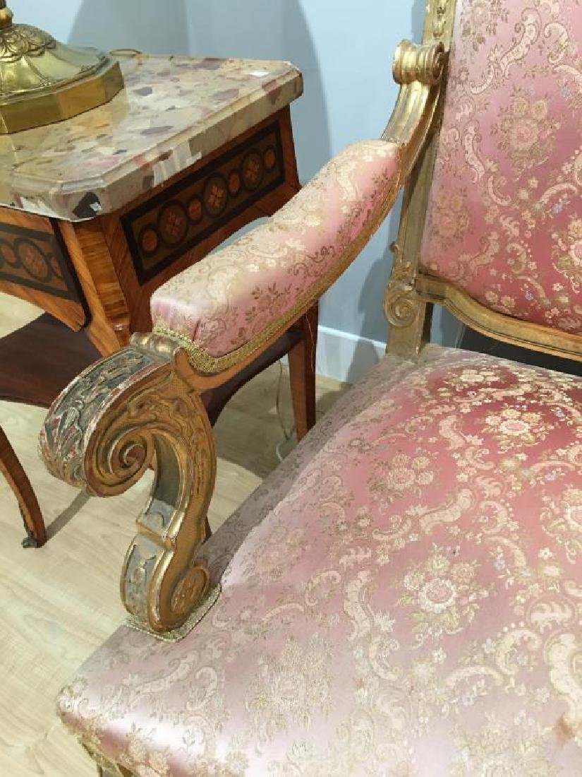 FRENCH CARVED GILTWOOD SETTEE - 5