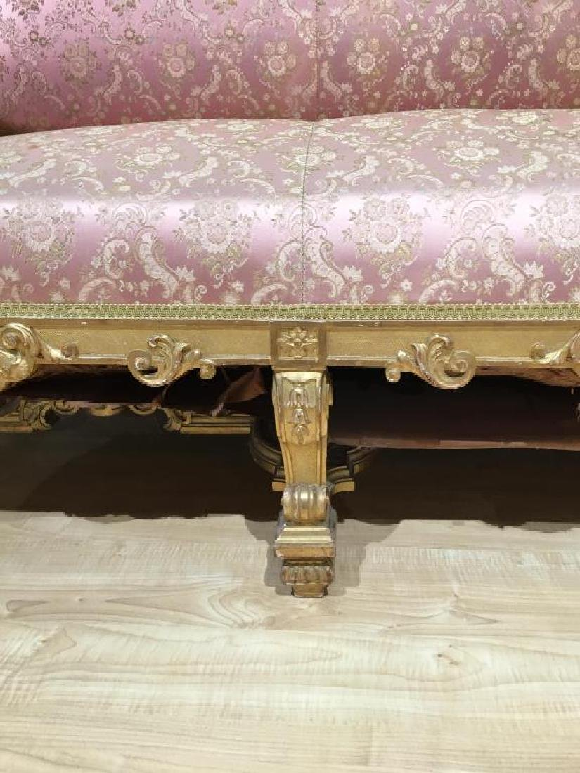 FRENCH CARVED GILTWOOD SETTEE - 6