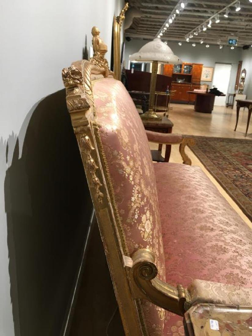 FRENCH CARVED GILTWOOD SETTEE - 9