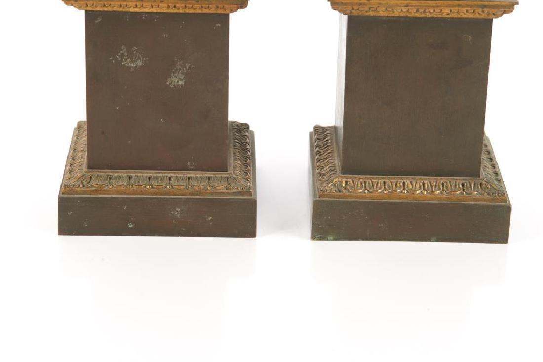 Pair of bronze urn garnitures - 2