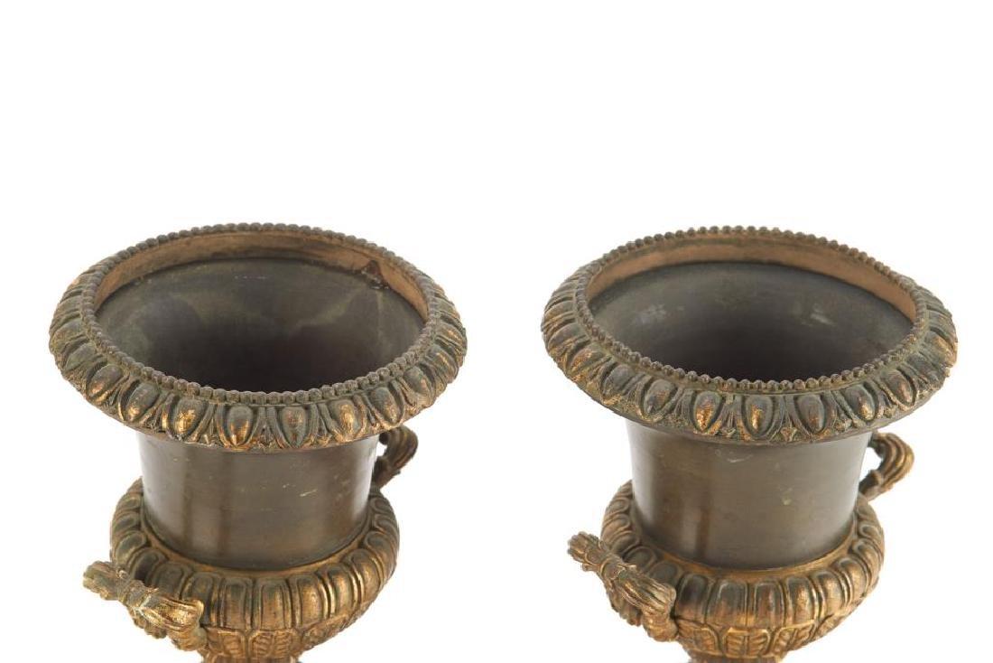 Pair of bronze urn garnitures - 7