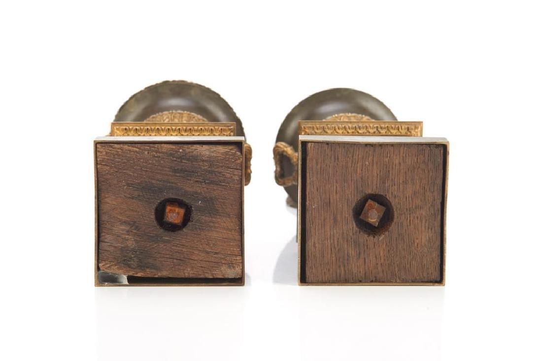 Pair of bronze urn garnitures - 8