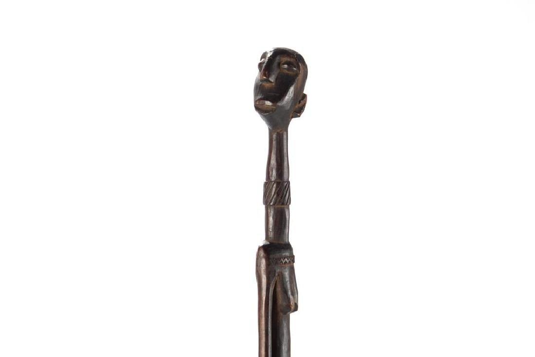 African wood elongated standing female figure - 5