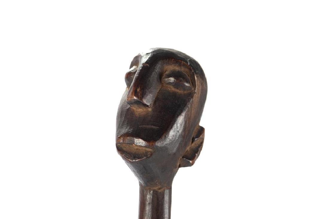 African wood elongated standing female figure - 6