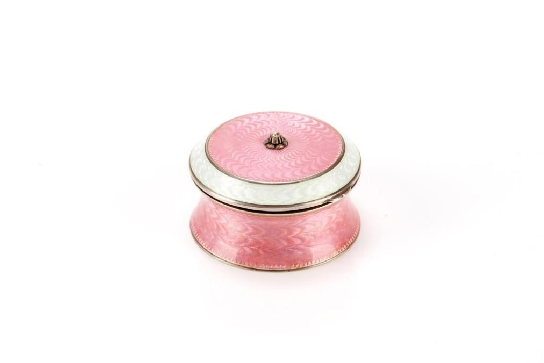 Russian silver & enamel hinged pill box