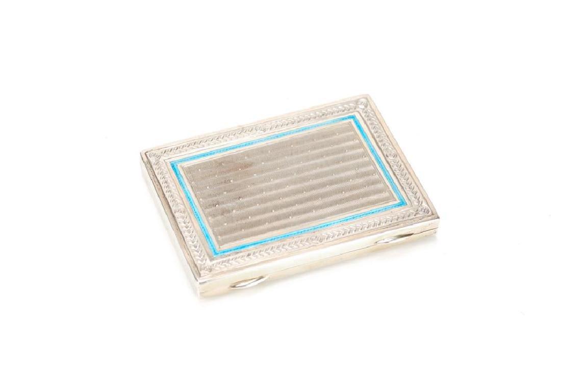 German silver gilt enamelled cigarette case