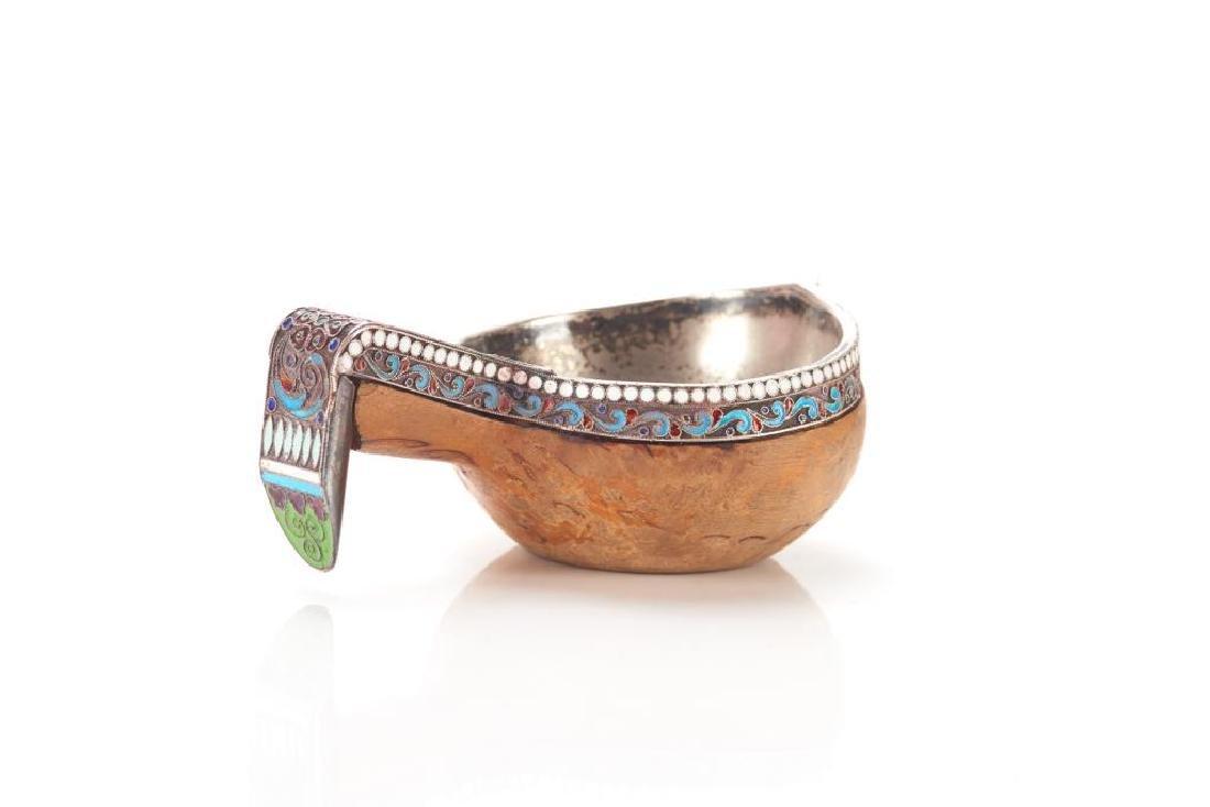 Russian silver & enamel Kovsh