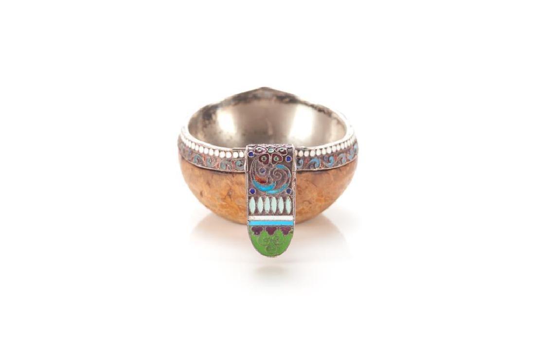 Russian silver & enamel Kovsh - 2