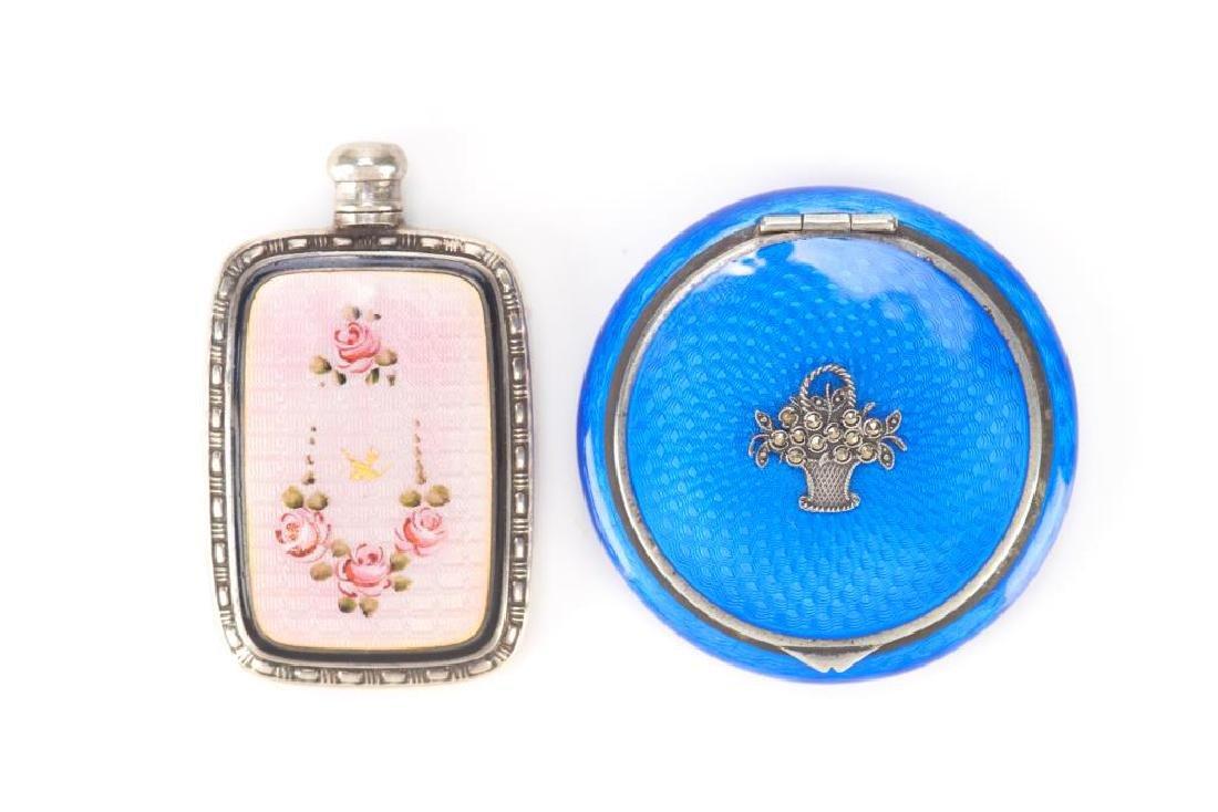 American silver and enamel perfume flask