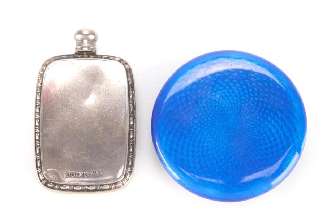 American silver and enamel perfume flask - 5