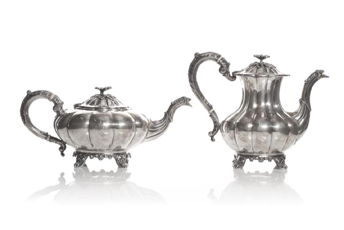 Birks silver teapot and coffee pot