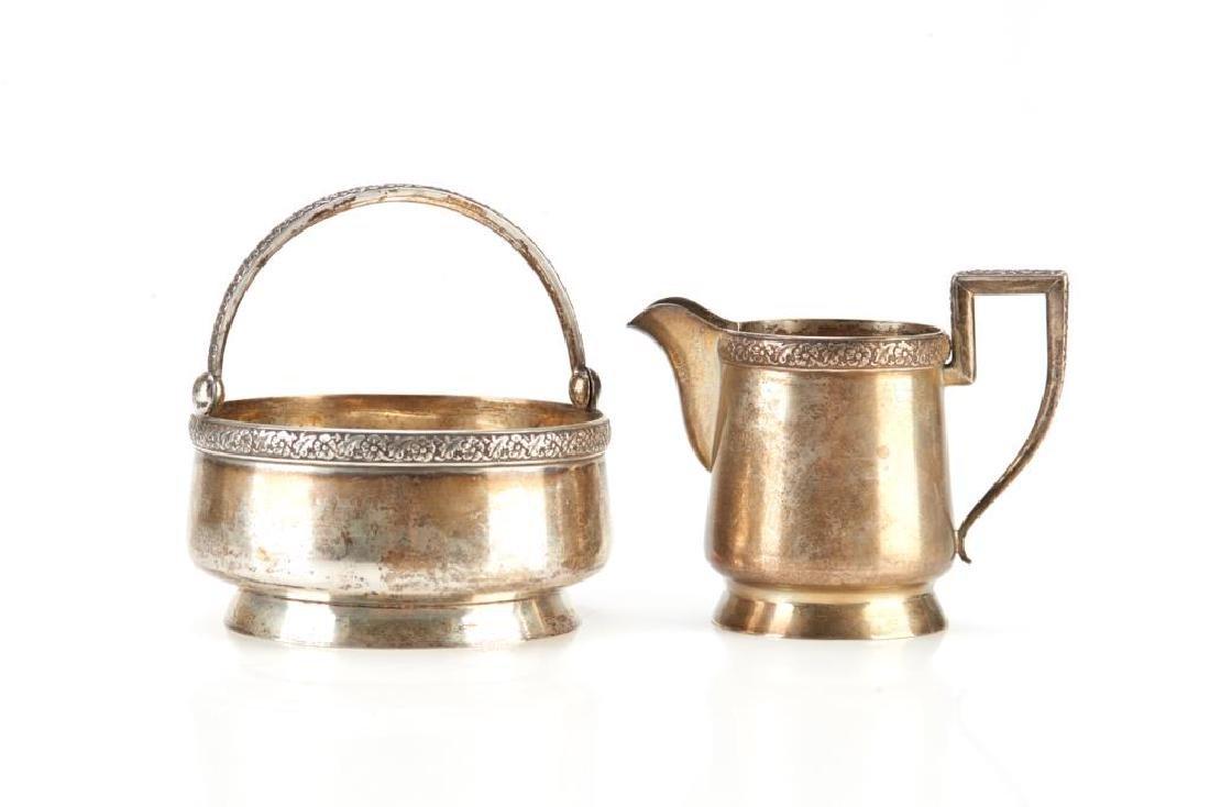 Russian silver creamer and sugar bowl