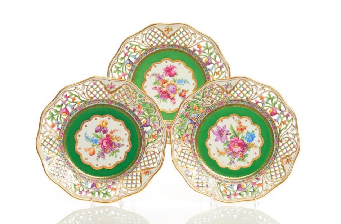 Twelve pierced Dresden German porcelain plates
