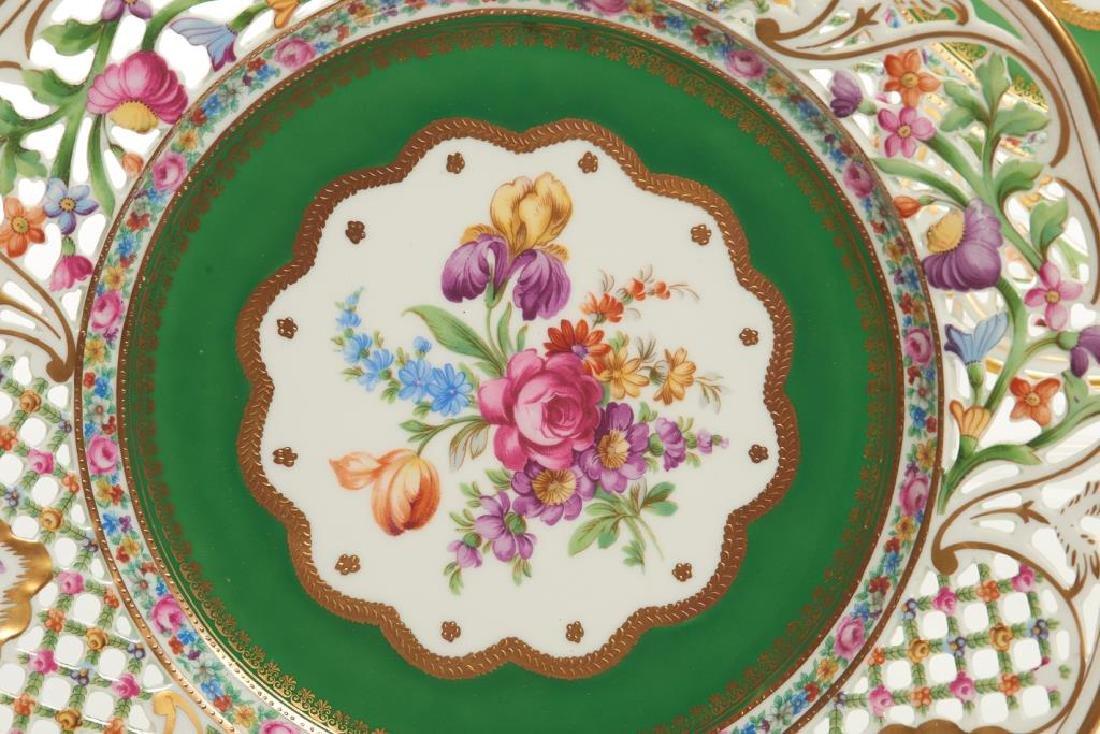 Twelve pierced Dresden German porcelain plates - 5