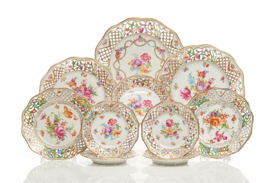 Assorted Dresden German porcelain dinnerware
