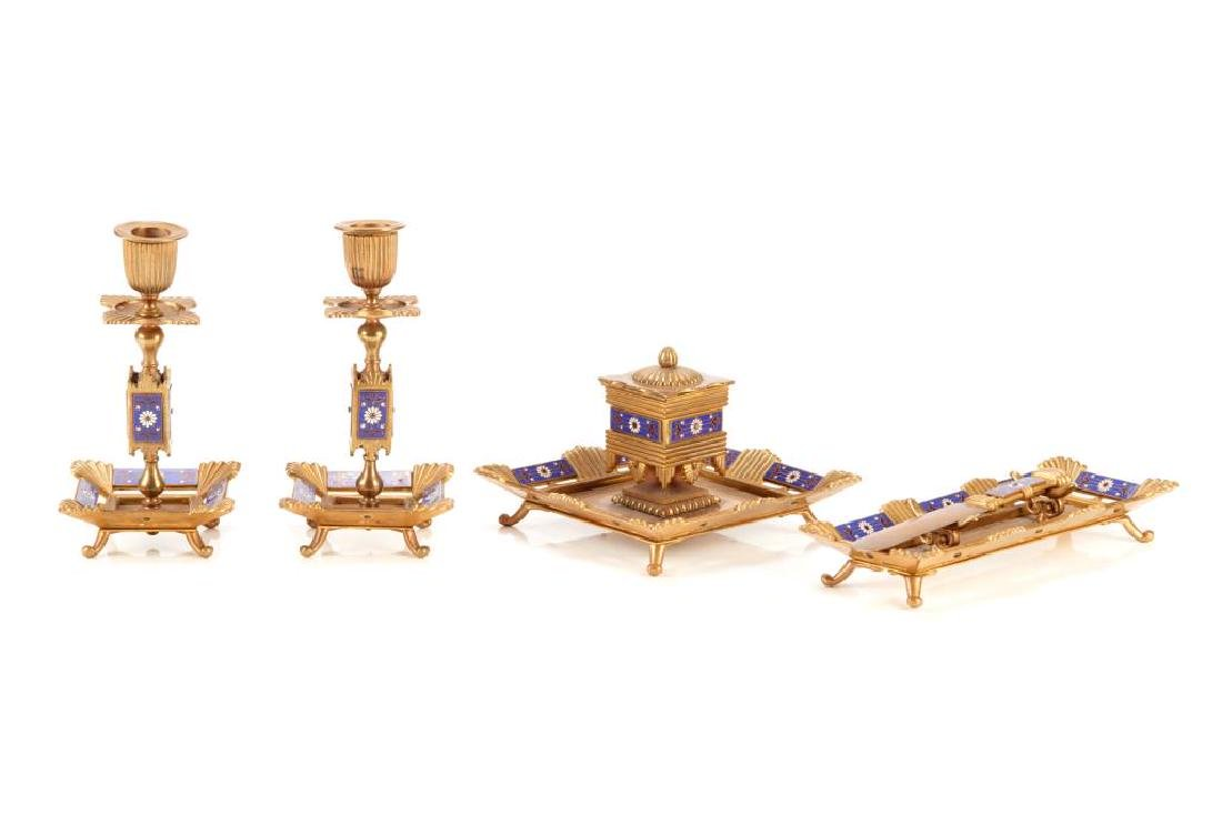Five piece champleve enamel desk accessory set