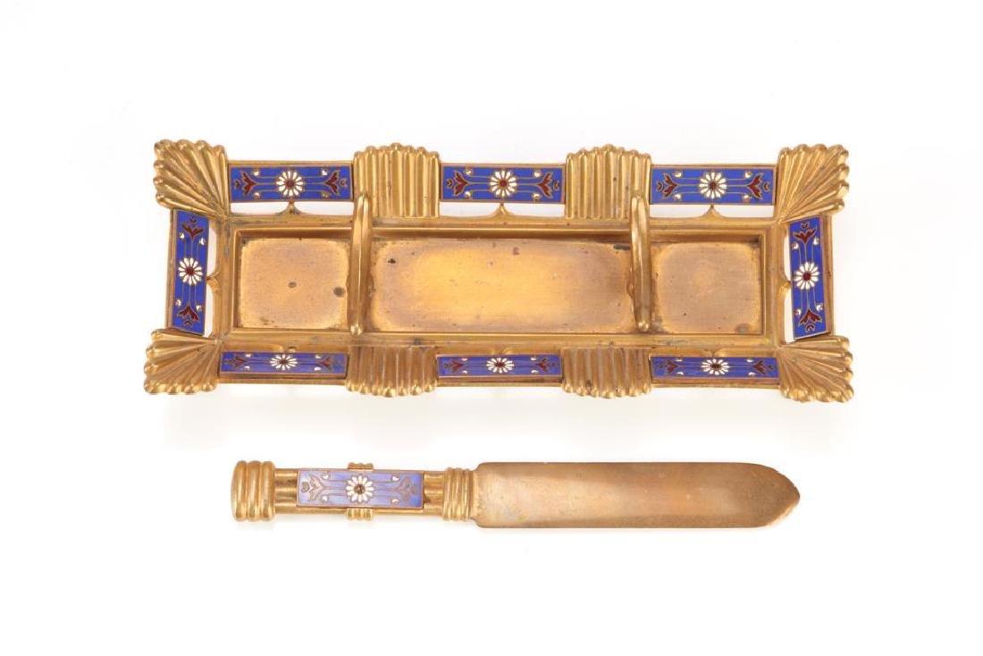 Five piece champleve enamel desk accessory set - 2