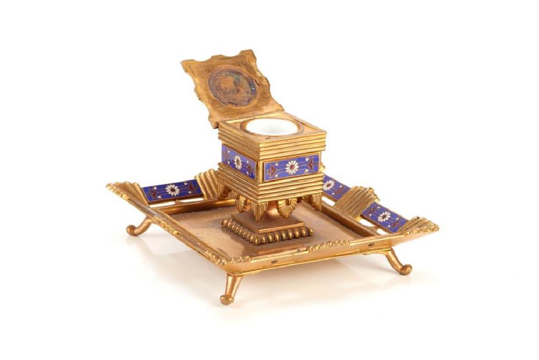 Five piece champleve enamel desk accessory set - 3