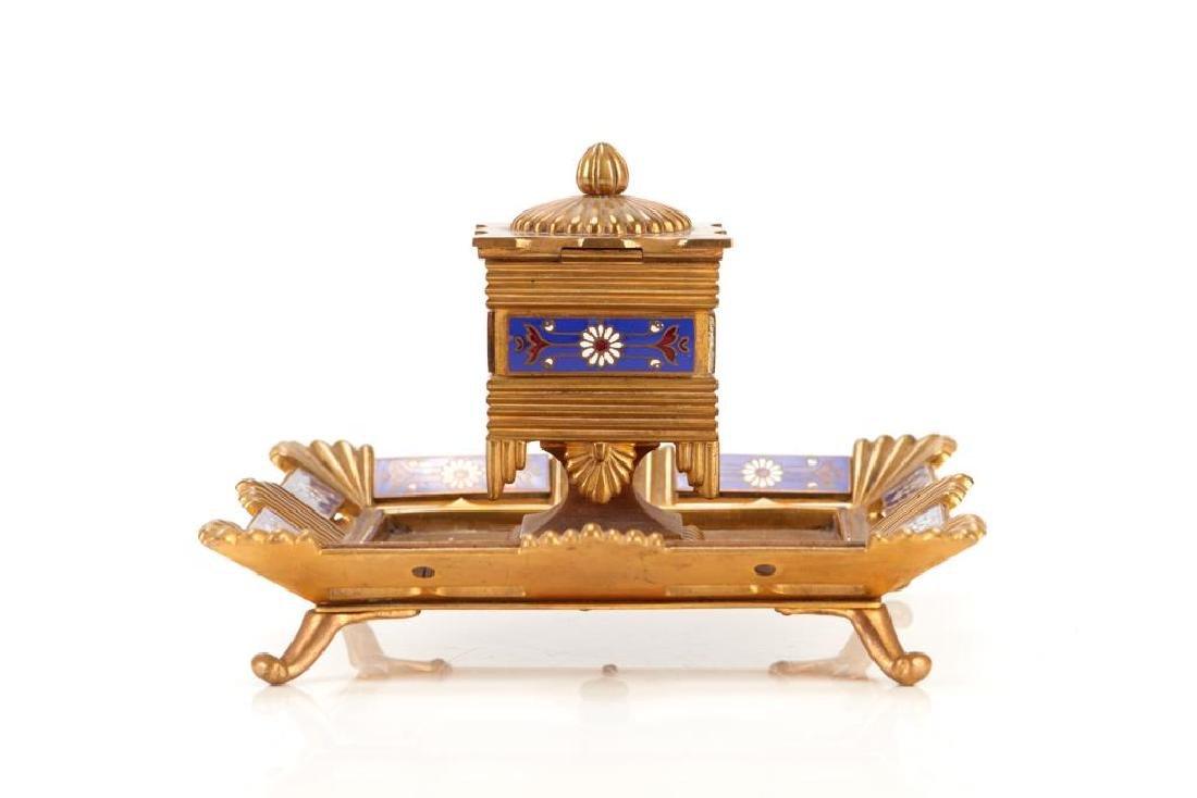 Five piece champleve enamel desk accessory set - 4