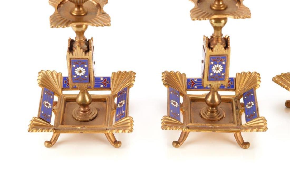 Five piece champleve enamel desk accessory set - 5