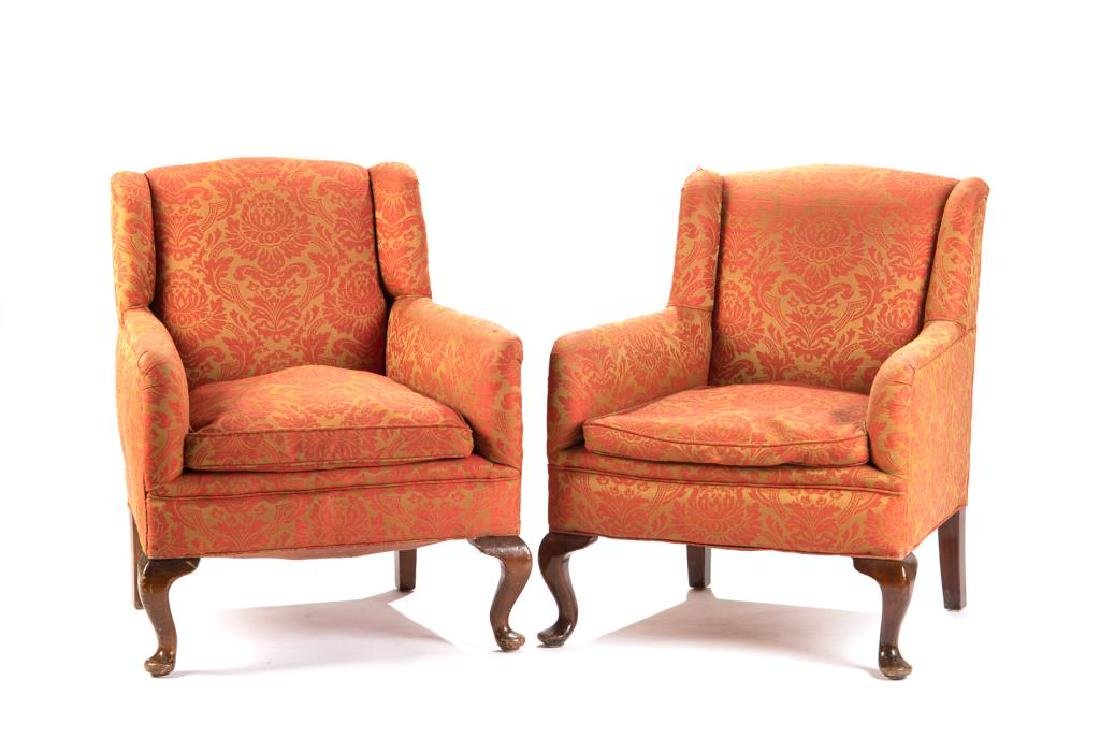 Pair of Georgian style upholstered club chairs