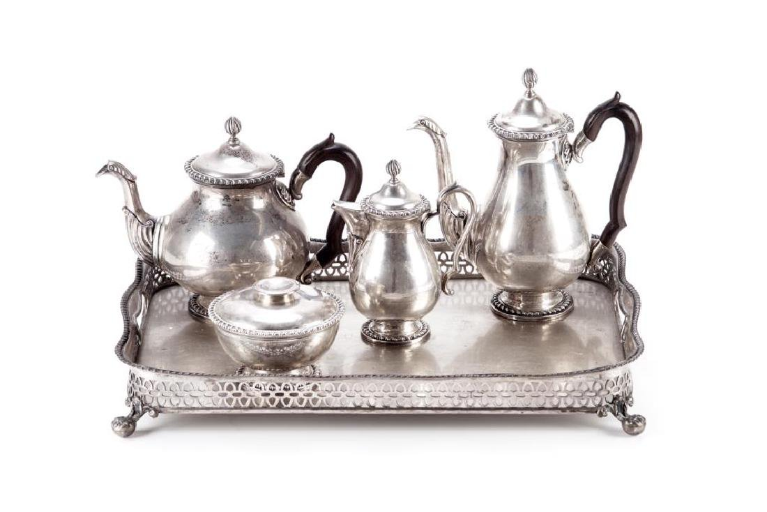 Five piece Portuguese silver tea & coffee set