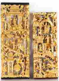 TWO CARVED LACQUERED & GILT WOOD WALL PANELS