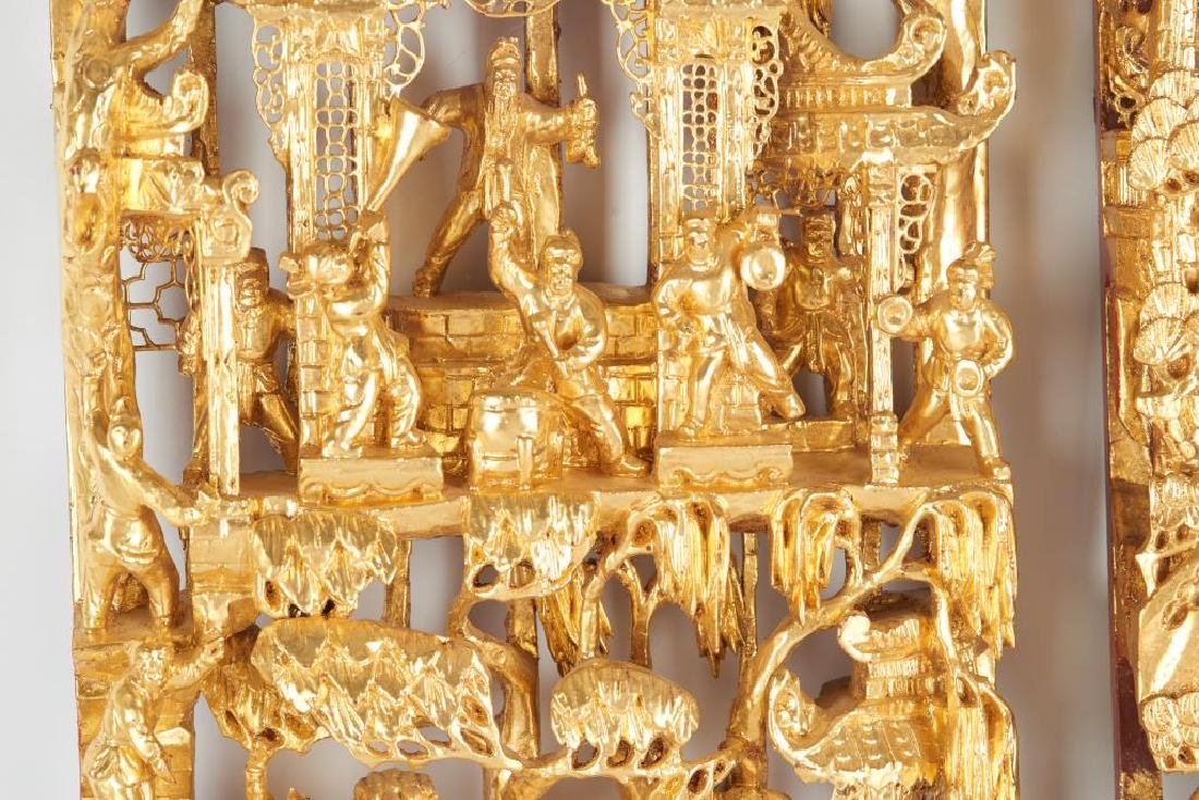 TWO CARVED LACQUERED & GILT WOOD WALL PANELS - 2