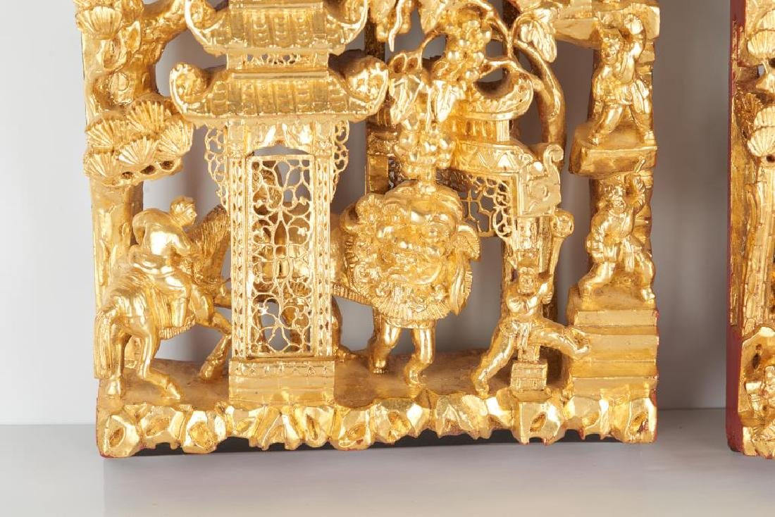 TWO CARVED LACQUERED & GILT WOOD WALL PANELS - 3