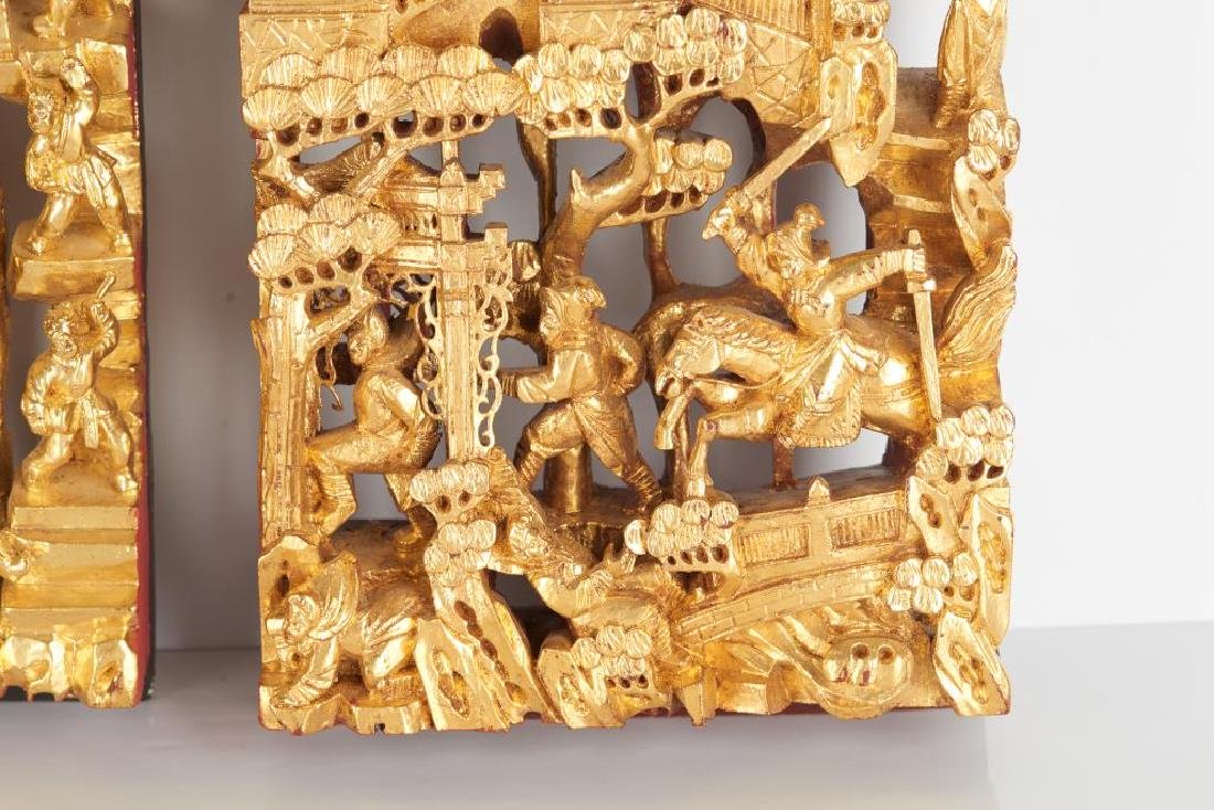 TWO CARVED LACQUERED & GILT WOOD WALL PANELS - 4