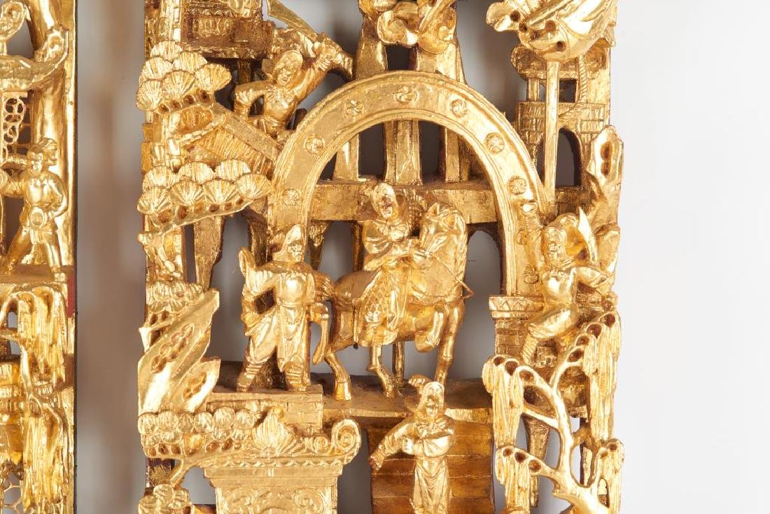 TWO CARVED LACQUERED & GILT WOOD WALL PANELS - 5