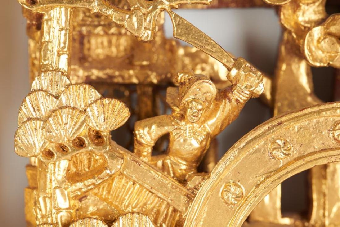 TWO CARVED LACQUERED & GILT WOOD WALL PANELS - 6