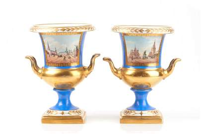 Pair of Russian porcelain campana form urns