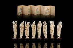 CHINESE CARVED SET OF EIGHT IMMORTALS FIGURES