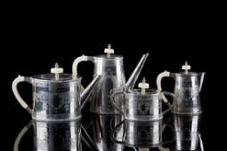 PORTUGUESE FOUR PIECE SILVER TEA  COFFEE SERVICE