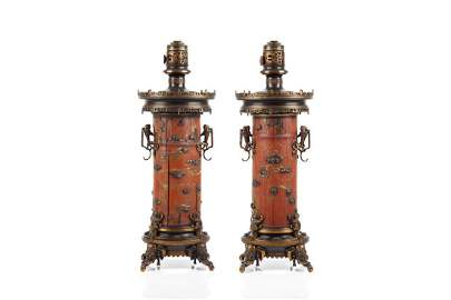 PAIR OF FRENCH BRONZE & JAPANESE TABLE LAMPS