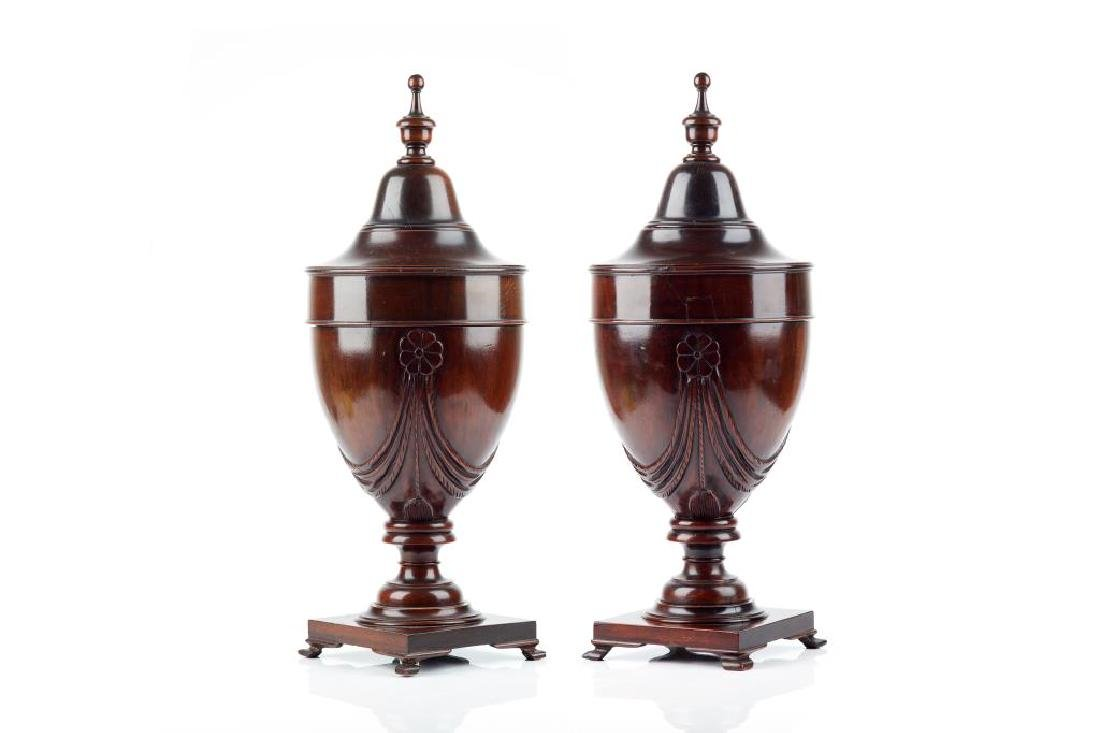 PAIR OF ADAM STYLE MAHOGANY URN-FORM CUTLERY BOXES