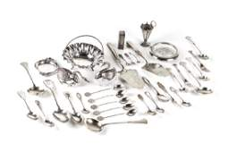 GROUP OF SILVER  GLASS TABLE ACCESSORIES