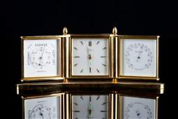 ANGELUS DESK CLOCK WITH THERMOMETER AND BAROMETER