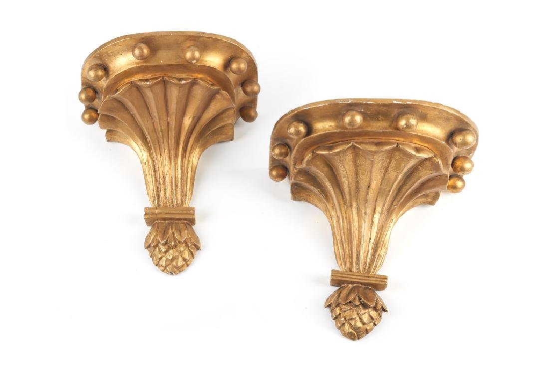 PAIR OF GILDED WOOD WALL SCONCES