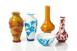 GROUP OF CHINESE PEKING GLASS VASES AND BOWL