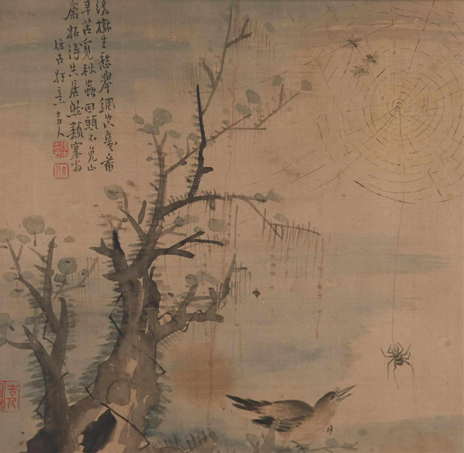 FRAMED CHINESE INK ON SILK PAINTING