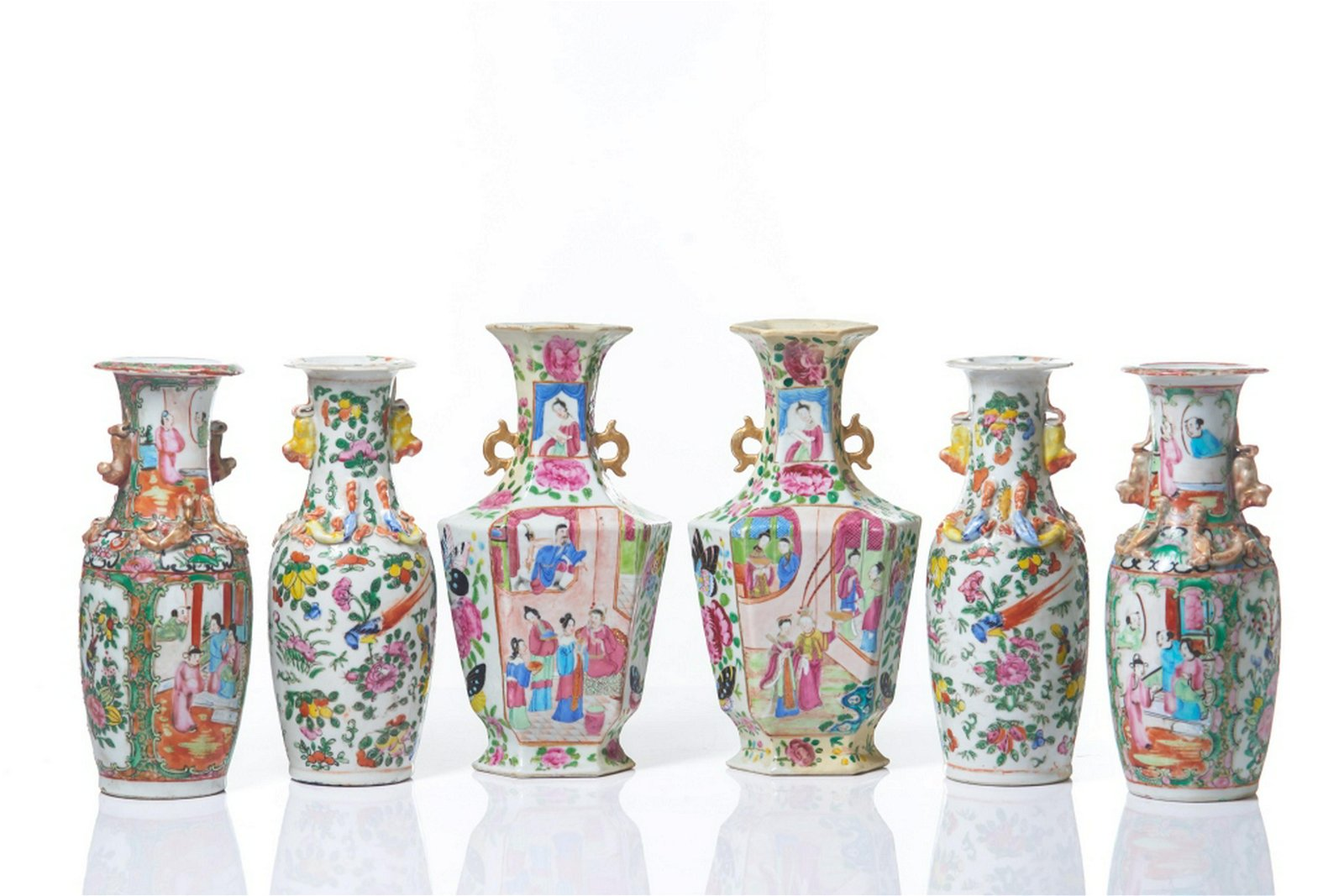 THREE PAIRS OF EXPORT CANTON FAMILLE ROSE VASES