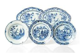 5 CHINESE EXPORT BLUE & WHITE PORCELAIN DISHES