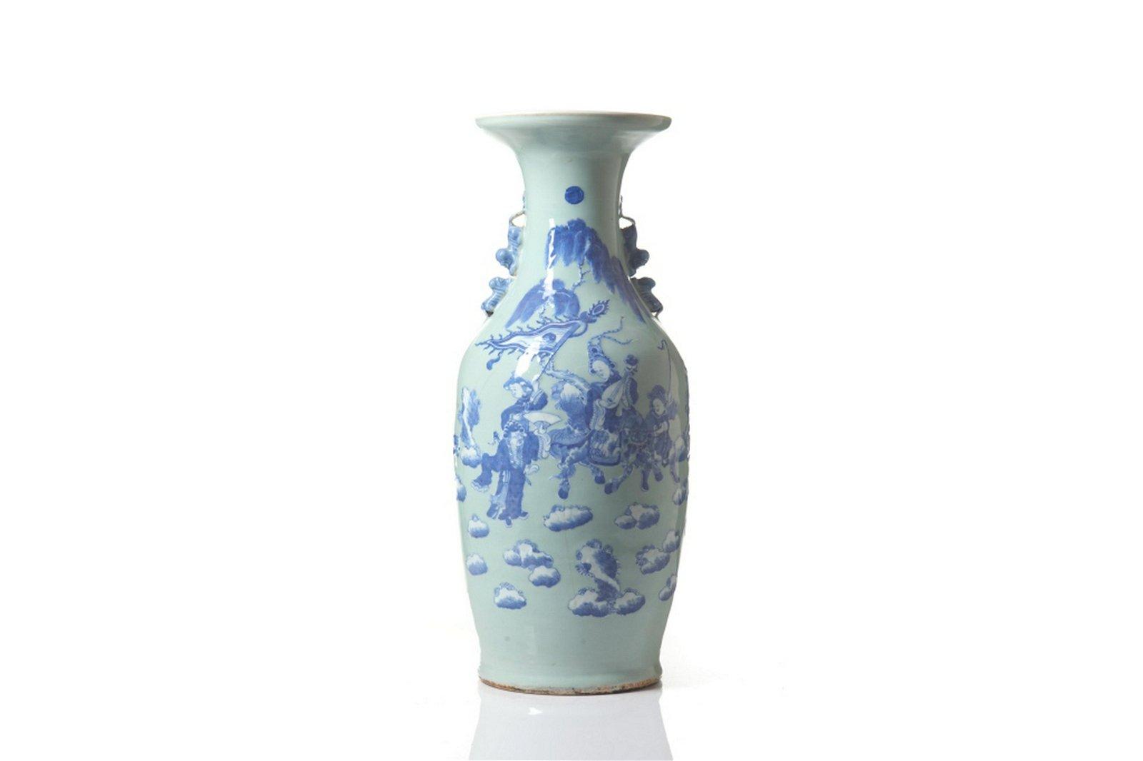 CHINESE CELADON GROUND BLUE & WHITE PORCELAIN VASE