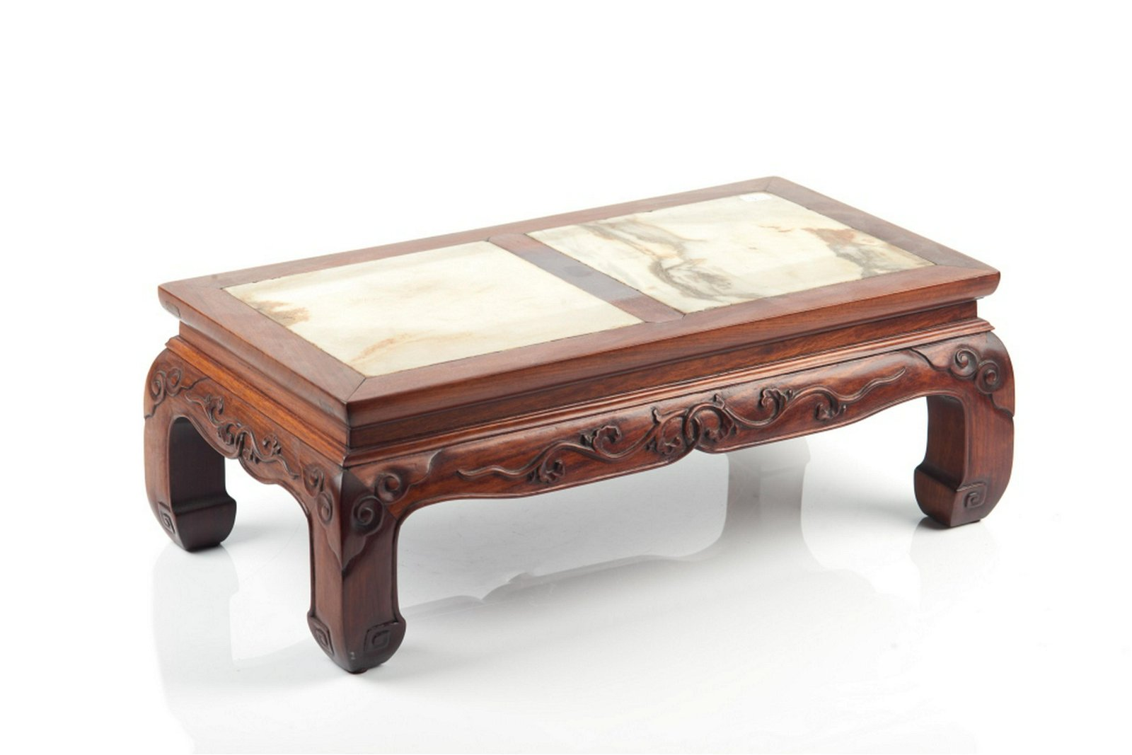CHINESE HARDWOOD STAND WITH MARBLE INSERT