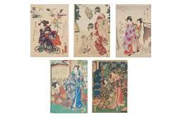 GROUP OF 5 JAPANESE UKIYOE WOODBLOCK PRINTS