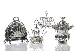 FOUR SILVERPLATE TABLE ACCESSORIES